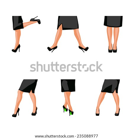 illustration of set of woman legs in different poses - stock vector