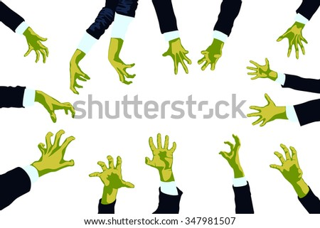 illustration of set of zombie green color hands on white - stock vector