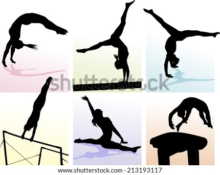 illustration of several gymnastic moves in pastel colored boxes. - stock vector