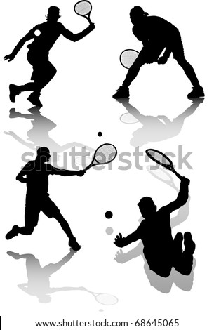 illustration of several silhouettes of tennis players - stock vector