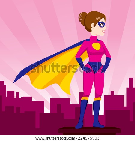 Illustration of sexy beautiful woman hands on hips pose with superhero costume watching over city skyline - stock vector