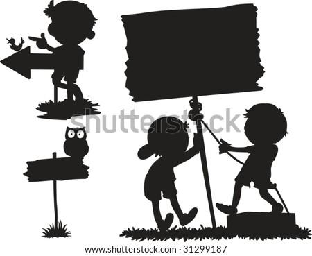illustration of shadows of different cartoons - stock vector