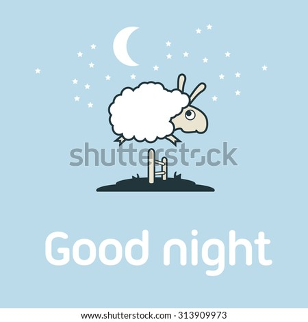 Illustration of Sheep jumping over the fence. Postcard elements concept. - stock vector