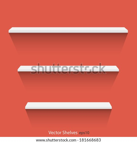 Illustration of shelves against a colorful background. - stock vector