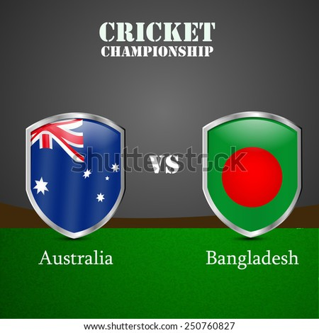 Illustration of Shield with Australia Flag and Bangladesh Flag for Cricket background - stock vector