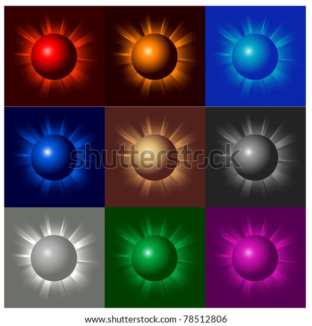 illustration of shining color balls on black - stock vector