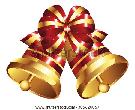 Illustration of shiny golden Christmas bell decorated with red bow. - stock vector