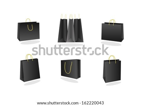 Illustration of shopping bags collection in black and grey colours - stock vector
