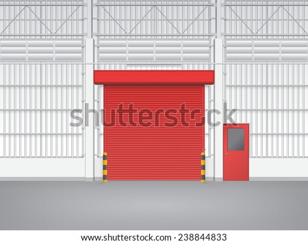 Illustration of shutter door and steel door inside factory, red color. - stock vector