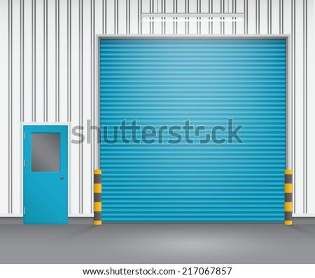 Illustration of shutter door and steel door outside factory, blue color. - stock vector