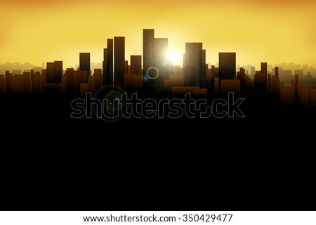 illustration of silhouette of the big city with sunshines - stock vector