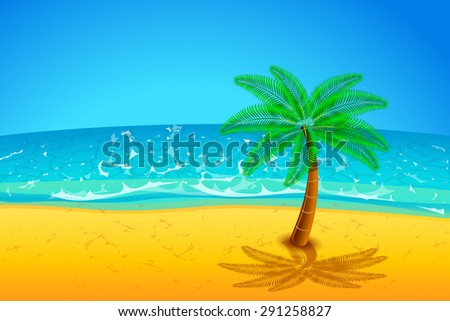 illustration of single plam tree on the beach with sea - stock vector