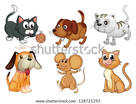 Illustration of six different animals with four legs on a white background - stock vector