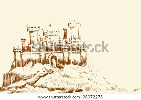 illustration of sketch of castle in vintage style - stock vector