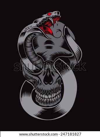 Illustration of skull with cobra. - stock vector