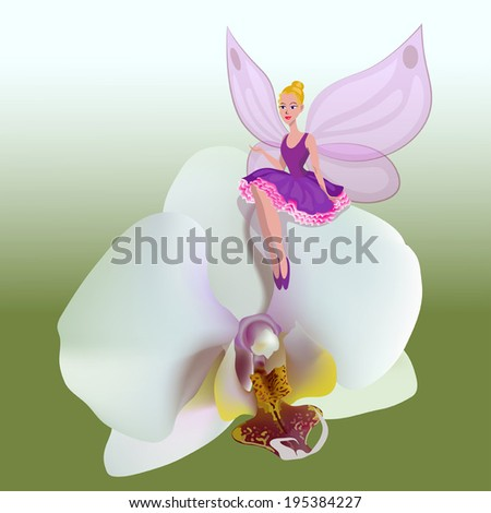 Illustration of small fairy sitting on a white flower of orchids.  - stock vector