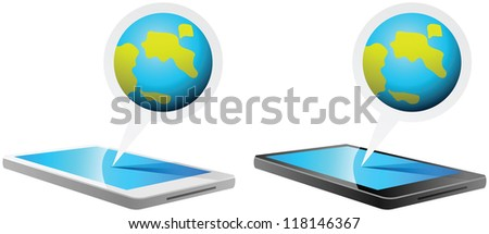 illustration of Smartphone and Globe - stock vector