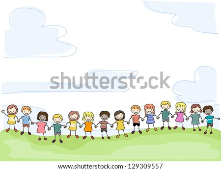 Illustration of Smiling Stick Kids Holding Hands in Unity - stock vector