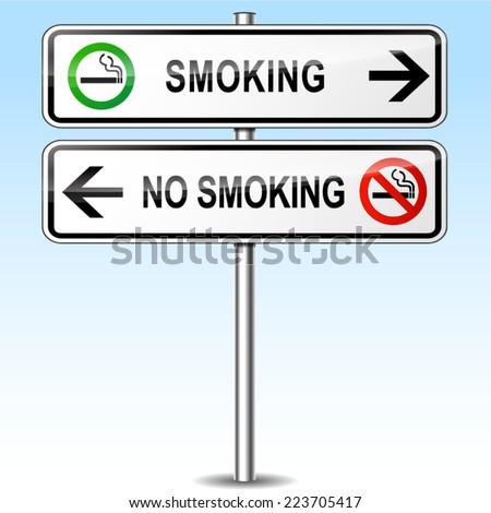 Illustration of smoking and no smoking directional sign - stock vector