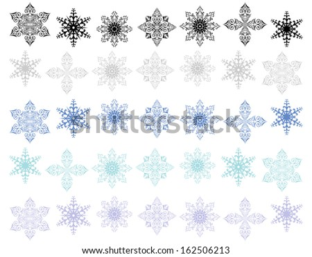 Illustration of snowflake shapes set - stock vector