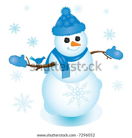 Illustration of snowman in blue with bluejay sitting on his arm; perfect for any winter or Christmas project. - stock vector