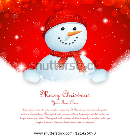 illustration of snowman wearing scarf in Christmas banner - stock vector