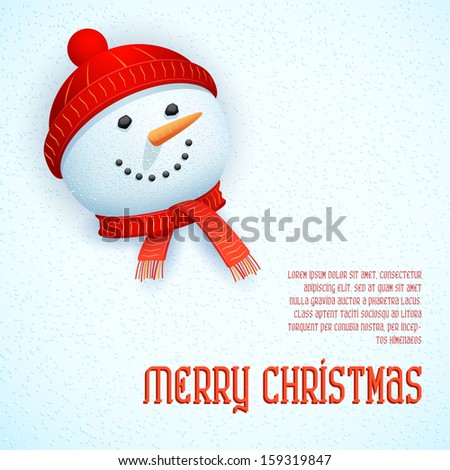 illustration of snowman wearing scarf in Christmas Card - stock vector