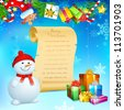 illustration of snowman with Christmas gift and blank scroll - stock vector