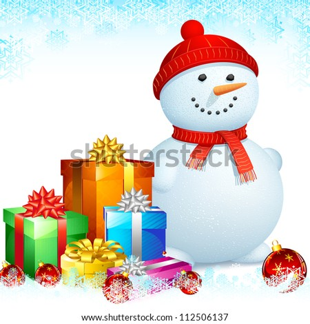 illustration of snowman with gift box for Christmas - stock vector