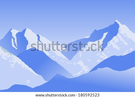 illustration of snowy mountains - stock vector