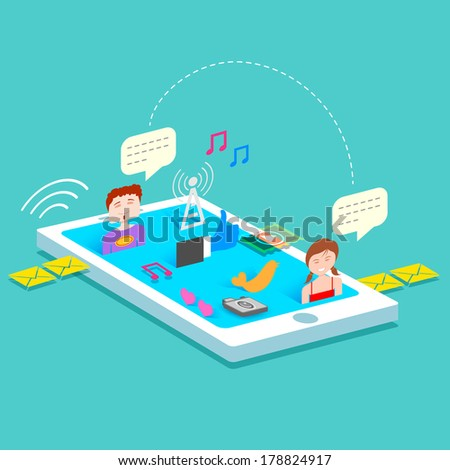 illustration of social media concept in mobile phone - stock vector