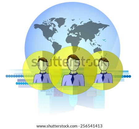 Illustration of social media heads with international business background isolated on white background - stock vector