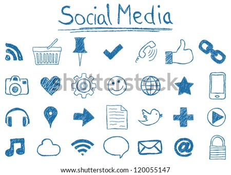 Illustration of Social Media Icons, hand-drawn style.social sites set. sketch media icon. web site signs. speech and thumbs drawings. UI mobile design media doodles. - stock vector