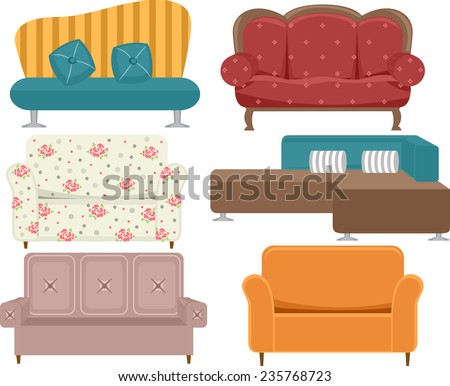 Illustration of Sofas With Different Styles and Designs - stock vector