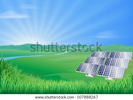 Illustration of solar panels in green landscape for sustainable renewable energy power generation - stock vector