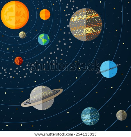 Illustration of solar system. Vector - stock vector