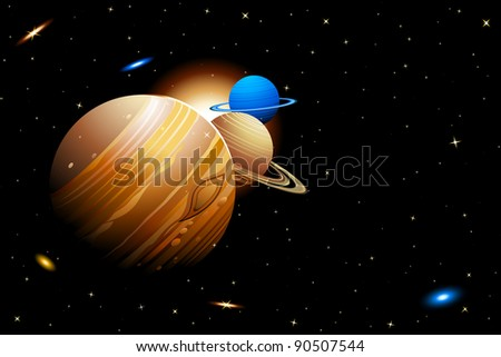 illustration of solar system with planets moving in orbits - stock vector