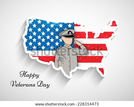 Illustration of Soldier with U.S.A Flag and Map for Veterans Day - stock vector