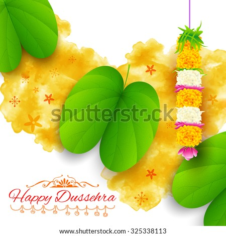 illustration of Sona patta for wishing Happy Dussehra - stock vector