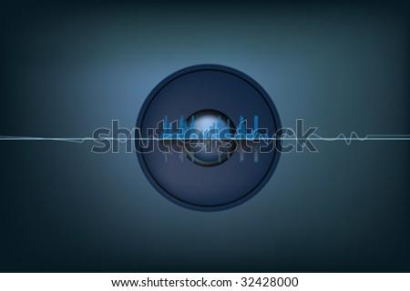 illustration of soundwaves and a speaker system - stock vector