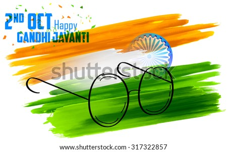 illustration of spectacles on India background for Gandhi Jayanti - stock vector
