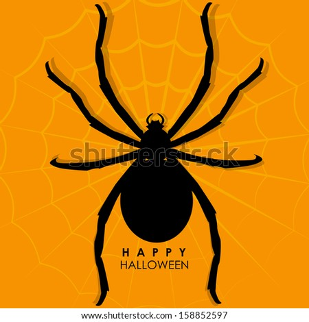 illustration of spider on web for Halloween background - stock vector