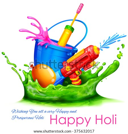 illustration of splash with color bucket and watergun in Holi background - stock vector