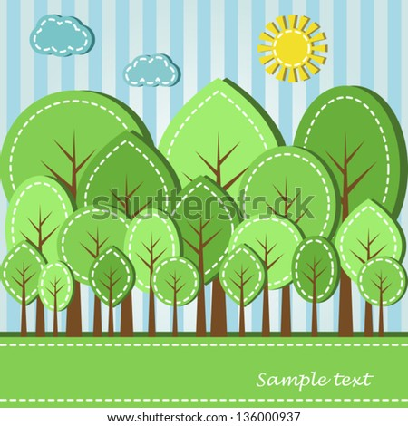 Illustration of spring or summer colored forest, dashed style - stock vector