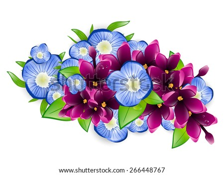 Illustration of Spring Wet Lilac and Forget-me-not Flower Branch - stock vector