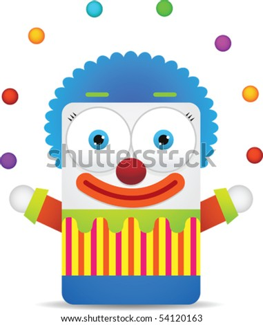 Illustration of Square Clown doing ball juggling - stock vector