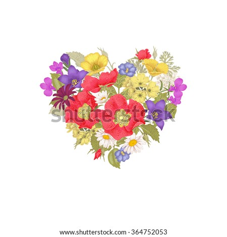 Illustration of St. Valentine's Day. Valentine heart. Vector design Valentine's Day. Template of flowers in a heart-shaped Valentine's Day. The unique message of Valentine's Day. - stock vector