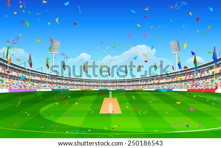 illustration of stadium of cricket showing flags of participating countries - stock vector