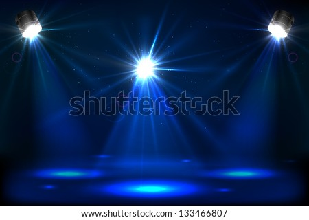 Illustration of stage for performance with spot light - stock vector