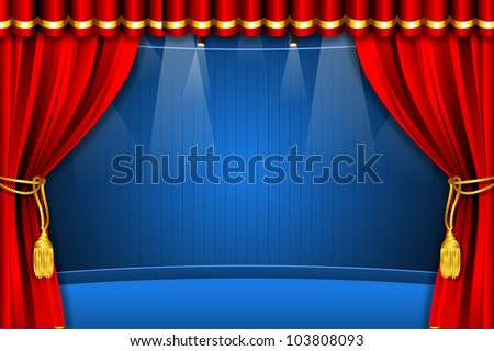 illustration of stage with flash light and curtain - stock vector